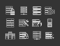 Server icon set grey vector. Server icon set vector white isolated on grey background Vector Illustration