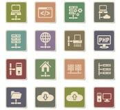 Server icon set Stock Photos