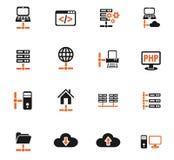 Server icon set Stock Photography