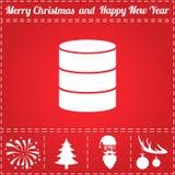 Server Icon Vector. And bonus symbol for New Year - Santa Claus, Christmas Tree, Firework, Balls on deer antlers Stock Photo