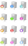 Server Icons. 12 Server Icons including Firewall, Mail, Web, Database, Chat, Game, Domain Name, FTP, Proxy, Printer, Search and Download Royalty Free Stock Photo
