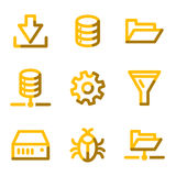 Server icons. Vector web icons, gold contour series Stock Photo