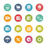 Server Icons -- Fresh Colors Series. Vector Icons and buttons in different layers, easy to change colors Stock Photography