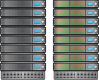 Server instalados dentro na cremalheira ilustração do vetor