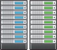 Server instalados dentro na cremalheira ilustração stock