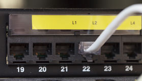 Server Internet Connected with LAN cables Stock Photos