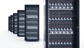 Server isolati in centro dati Archiviazione di dati di calcolo della nuvola 3d Fotografie Stock Libere da Diritti