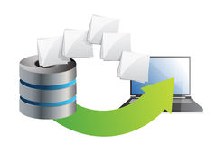 Server and laptop transferring files. Over a white background Royalty Free Stock Photography