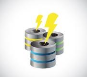 Server and lightnings illustration design Stock Image
