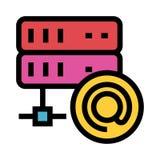 Server mail color line icon vector illustration