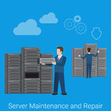 Server maintenance and repair flat style vector Royalty Free Stock Photo