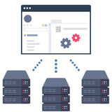 Server Management Control Panel. Vector Illustration of a Software Solution which Allows Users to Control Their Server Equipment in Data Centers royalty free illustration