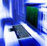 Server management terminal blur matrix binary code Royalty Free Stock Image