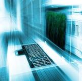 Server management terminal blur matrix binary code Stock Image