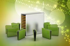 Server met dossieromslag Stock Afbeelding