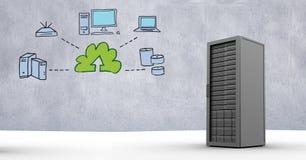Server met voorzien van een netwerkpictogrammen tegen grijze achtergrond Stock Afbeeldingen