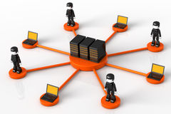 Server and Minitoy Network. 3D illustration of computer servers, laptops and Minitoy people connected in a hub-like orange network, isolated in white background Royalty Free Stock Image