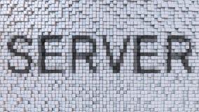 SERVER mosaic caption made of pixels. 3D rendering. SERVER caption on pixels background. 3D Stock Image