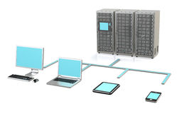 Server Network. 3 Server Racks, Workstation, Laptop, touch pad and smart phone Stock Photography