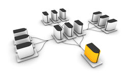 Server network. Rendering of a complex hirarchical computer network Stock Image
