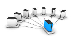 Server network. Rendering of a hierarchical computer network Royalty Free Stock Photo