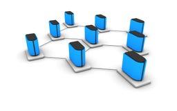 Server network. A non-hierarchical computer network Stock Photo