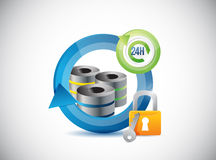 Server network connection and lock illustration Royalty Free Stock Photography