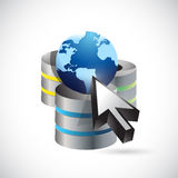 Server network cursor, and globe illustration Stock Image