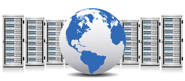Server - Network Servers with Globe Stock Photo