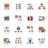 Server- och nätverkssymboler royaltyfri illustrationer