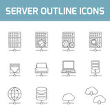 Server outline icons Stock Photos