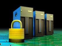 Server protection. Three tower servers being protected by a lock. Digital illustration Stock Photography