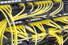 Server rack. Patch Panel server rack with yellow cords Stock Photos