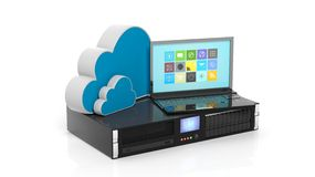 Server rack, cloud and laptop icons Stock Photography