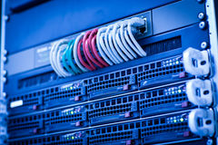 Server rack cluster in a data center Stock Photos