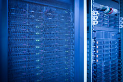 Server rack cluster in a data center Royalty Free Stock Images
