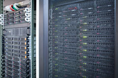 Server rack cluster in a data center Stock Image
