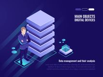 Server rack, data management and analysis. Banner of computer technology, digital data, isometric vector stock illustration