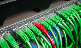 Server rack with green and red internet patch cord cables Stock Photos