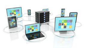 Server rack icon with communication devices around it Royalty Free Stock Images