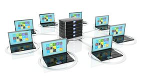 Server rack icon with laptops around it Stock Photography