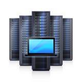 Server Rack Laptop Realistic  Illustration. Computer hardware system elements  with black server racks framework and laptop on white background realistic vector Stock Images