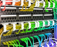 Server rack with rainbow internet patch cord cables Royalty Free Stock Image