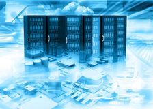 Server racks in abstract technology background Stock Image