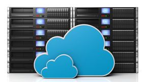 Server racks with cloud icons Stock Image