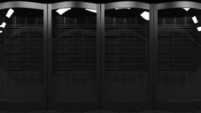 Server racks 3D rendering. Cloud technologies, ISP, corporate IT, ecommerce business concepts Stock Photo