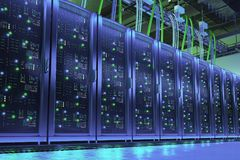 Server racks in data center. Digital technologes Stock Photos