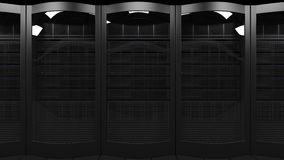 Server racks dolly seamless loop 4K animation. Cloud technologies, ISP, corporate IT, ecommerce business concepts stock footage