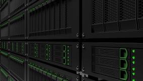 Server racks. Infinite focus version. CGI. Operating modern black server racks Royalty Free Stock Images