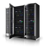 Server racks with open door Stock Image
